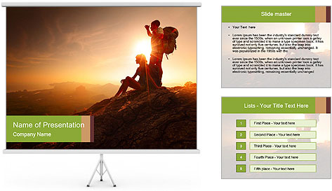 Two hikers enjoying sunrise from top of a mountain PowerPoint Template