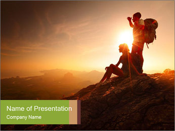 Two hikers enjoying sunrise from top of a mountain PowerPoint Template - Slide 1