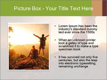 Two hikers enjoying sunrise from top of a mountain PowerPoint Template - Slide 13