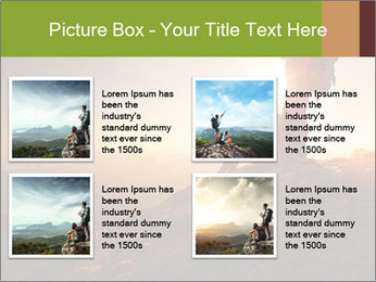 Two hikers enjoying sunrise from top of a mountain PowerPoint Template - Slide 14