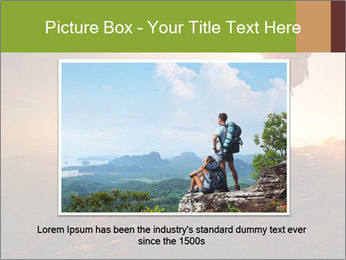 Two hikers enjoying sunrise from top of a mountain PowerPoint Template - Slide 15