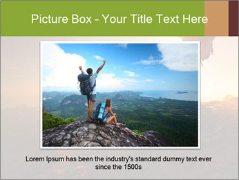 Two hikers enjoying sunrise from top of a mountain PowerPoint Template - Slide 16