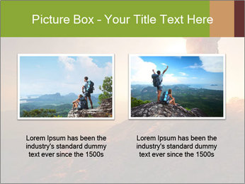 Two hikers enjoying sunrise from top of a mountain PowerPoint Template - Slide 18
