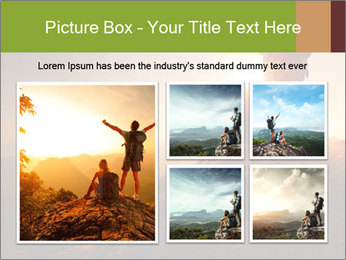 Two hikers enjoying sunrise from top of a mountain PowerPoint Template - Slide 19