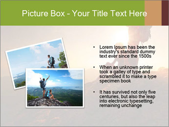 Two hikers enjoying sunrise from top of a mountain PowerPoint Template - Slide 20