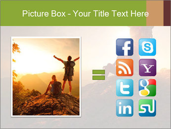 Two hikers enjoying sunrise from top of a mountain PowerPoint Template - Slide 21