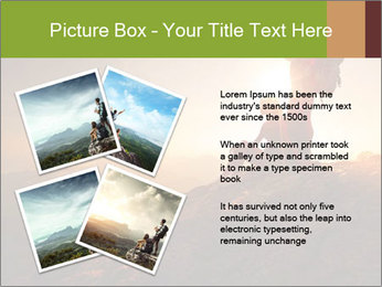 Two hikers enjoying sunrise from top of a mountain PowerPoint Template - Slide 23