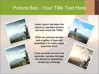 Two hikers enjoying sunrise from top of a mountain PowerPoint Template - Slide 24