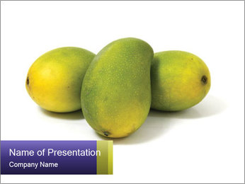 Beautiful and appetizing of green-yellow mangoes PowerPoint Template