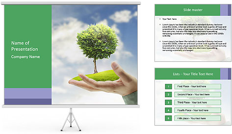 Small tree in a hand businessman PowerPoint Template