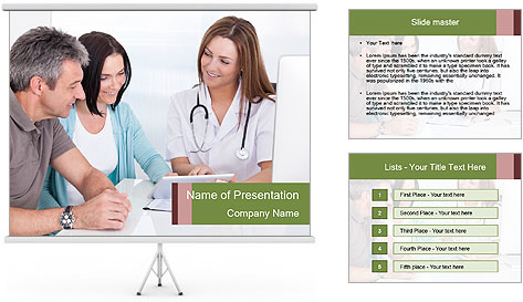 Happy Couple Looking By Doctor PowerPoint Template