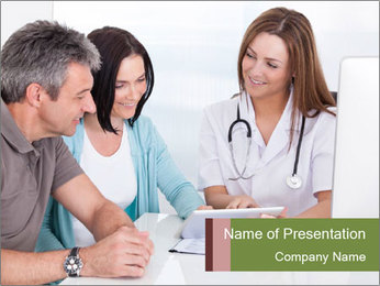 Happy Couple Looking By Doctor PowerPoint Template - Slide 1