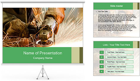 Electric wheel grinding on steel structure PowerPoint Template