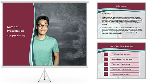 Closeup portrait of a happy Asian/Chinese man looking to left PowerPoint Template