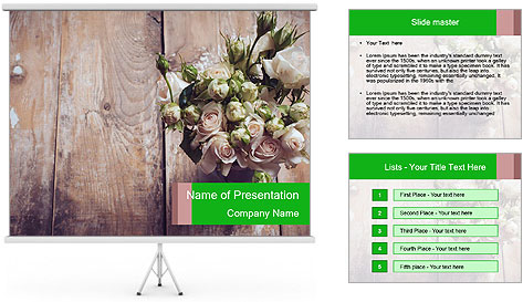 Bouquet of roses in metal pot on the wooden background PowerPoint Template