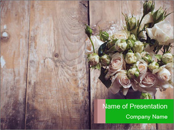 Bouquet of roses in metal pot on the wooden background PowerPoint Template - Slide 1