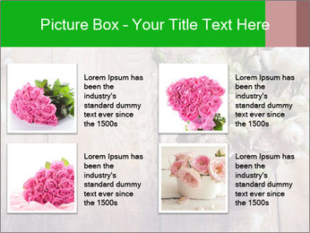 Bouquet of roses in metal pot on the wooden background PowerPoint Template - Slide 14