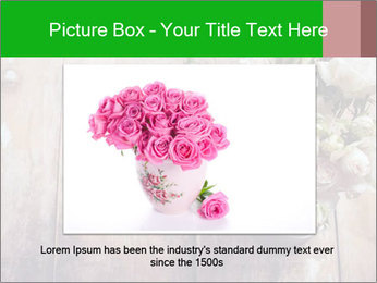 Bouquet of roses in metal pot on the wooden background PowerPoint Template - Slide 16