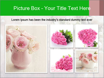 Bouquet of roses in metal pot on the wooden background PowerPoint Templates - Slide 19