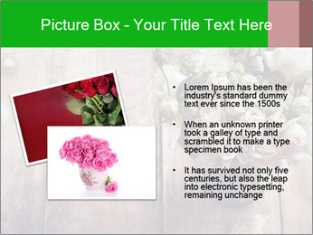 Bouquet of roses in metal pot on the wooden background PowerPoint Template - Slide 20