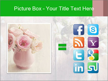 Bouquet of roses in metal pot on the wooden background PowerPoint Templates - Slide 21