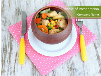 Baked mixed vegetable with chicken breast in pot PowerPoint Template