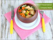 Baked mixed vegetable with chicken breast in pot PowerPoint Templates