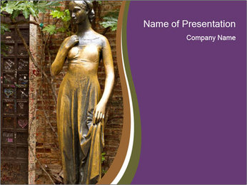 Statue of juliet in verona PowerPoint Template - Slide 1