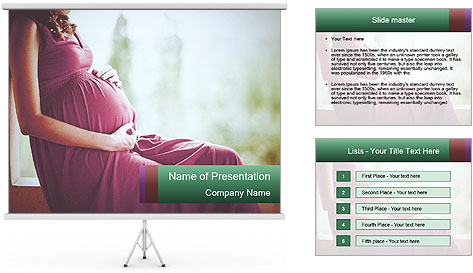 Pregnant woman touching her belly with hands PowerPoint Template