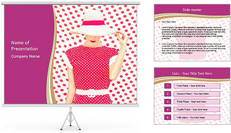 Fashion Polka Dots Woman PowerPoint Template