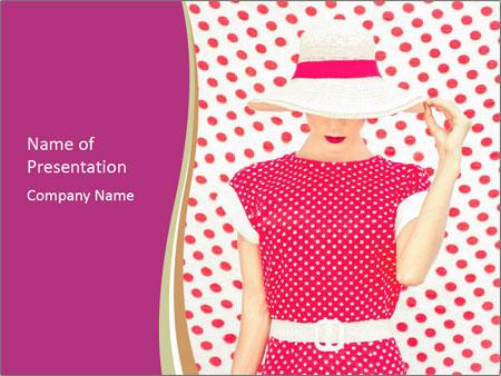 Fashion Polka Dots Woman PowerPoint Templates