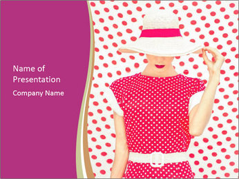 Fashion Polka Dots Woman PowerPoint Template - Slide 1