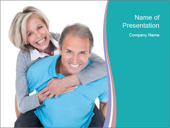 Mature Man Piggybacking His Happy Wife PowerPoint Templates - Slide 1