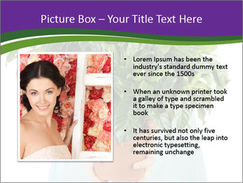 Beautiful flower in pot in hands of girl PowerPoint Template - Slide 13
