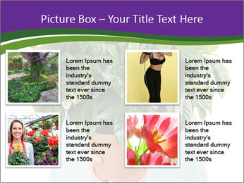 Beautiful flower in pot in hands of girl PowerPoint Template - Slide 14