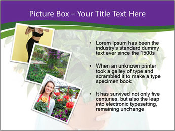 Beautiful flower in pot in hands of girl PowerPoint Template - Slide 17