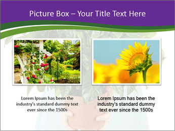 Beautiful flower in pot in hands of girl PowerPoint Template - Slide 18