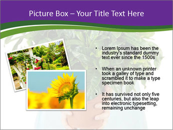 Beautiful flower in pot in hands of girl PowerPoint Template - Slide 20
