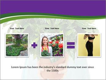 Beautiful flower in pot in hands of girl PowerPoint Template - Slide 22