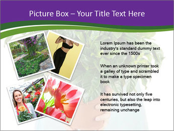 Beautiful flower in pot in hands of girl PowerPoint Template - Slide 23