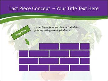 Beautiful flower in pot in hands of girl PowerPoint Template - Slide 46