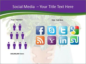 Beautiful flower in pot in hands of girl PowerPoint Template - Slide 5