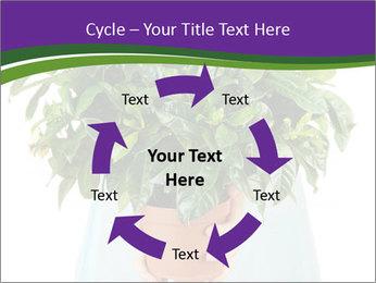Beautiful flower in pot in hands of girl PowerPoint Template - Slide 62