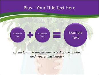 Beautiful flower in pot in hands of girl PowerPoint Template - Slide 75