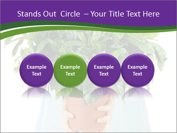 Beautiful flower in pot in hands of girl PowerPoint Template - Slide 76