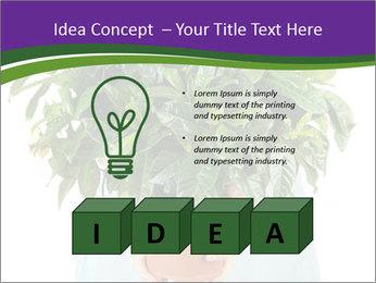 Beautiful flower in pot in hands of girl PowerPoint Template - Slide 80
