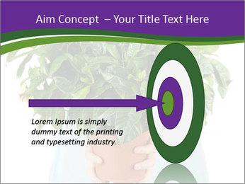 Beautiful flower in pot in hands of girl PowerPoint Template - Slide 83