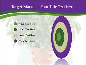 Beautiful flower in pot in hands of girl PowerPoint Template - Slide 84