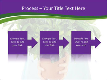 Beautiful flower in pot in hands of girl PowerPoint Templates - Slide 88