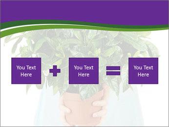 Beautiful flower in pot in hands of girl PowerPoint Template - Slide 95